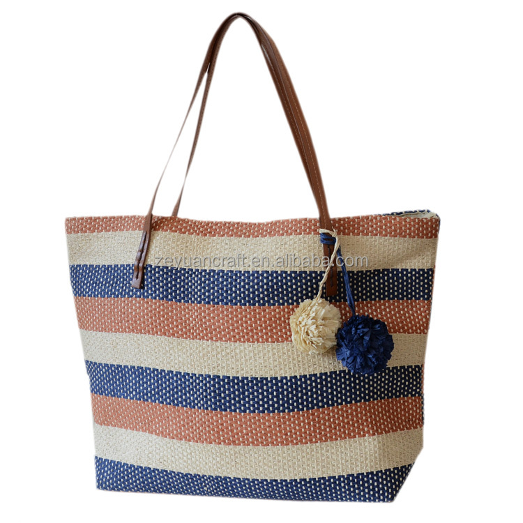 new style paper straw <strong>tote</strong> bag with ball for beach