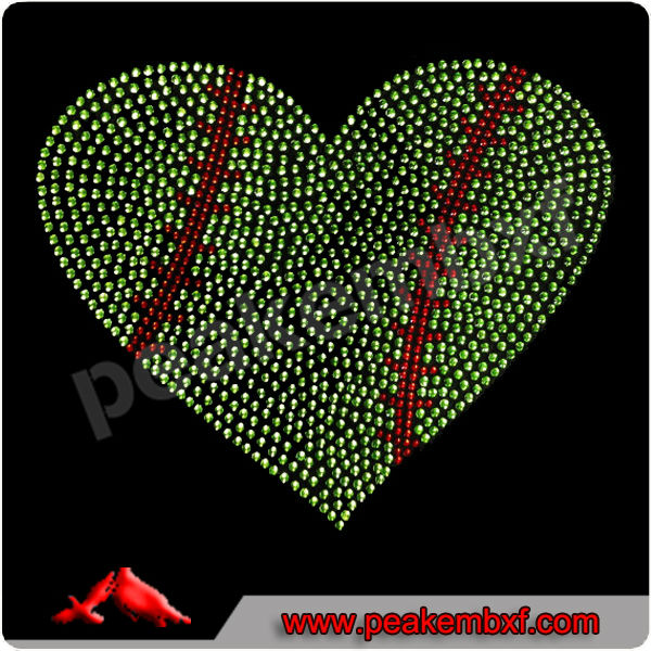 Crystal Chaton Baseball Heart Rhinestone Transfer Wholesale for Dresses