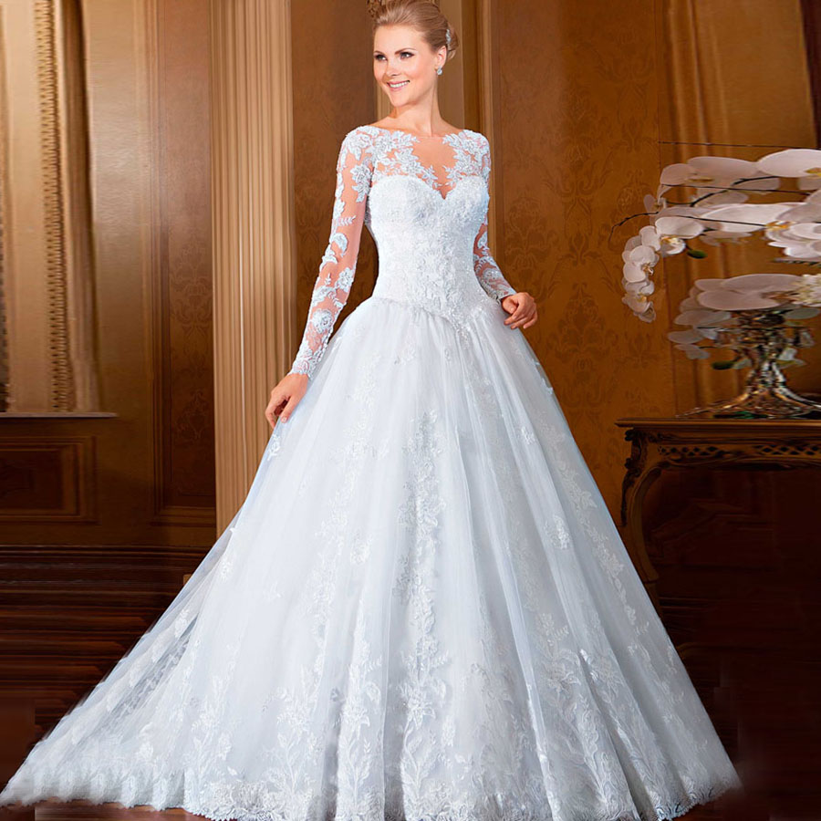 Elegant Long Sleeve Wedding Dresses: 2016 New Lace Long Sleeves Wedding Dress White Princess