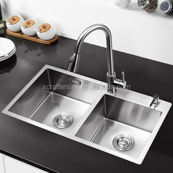 Factory Supply Without Faucet Hole Stainless Steel 304 Rectangular Brushed Kitchen Sink