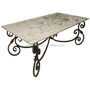 Decorative Marble Pedestal Rectangular Metal Table Base Wrought Iron Dining Bases For