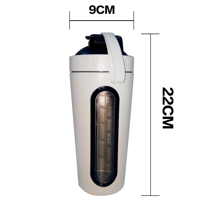 Hot 2019 scale line stainless steel shaker bottle with metal ball, available free samples