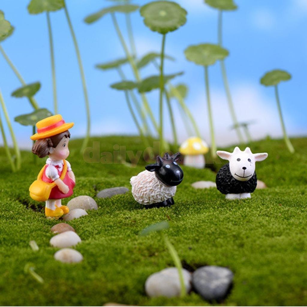 10pcs Resin Miniature Curly Sheep Bonsai Figurine Terrarium Garden Ornament