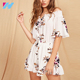 Floral Print Tie Front Half Sleeve Off Shoulder Summer Women White Jumpsuits