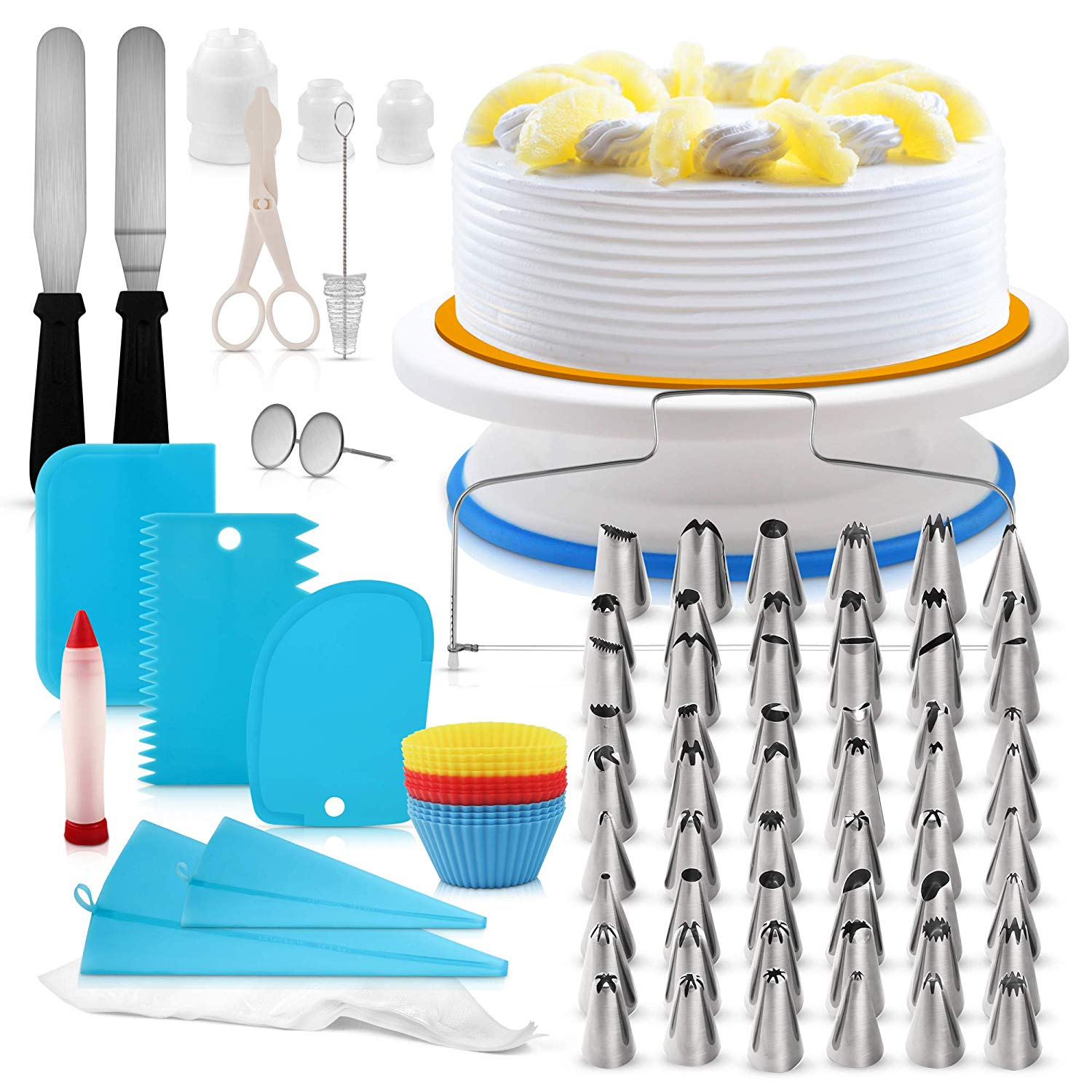Cake Decorating Supplies Kit 107pc | Cake Turntable | Cake Decorating Kit | Cake Leveler | Cake Stand | Cupcake Decorating | Frosting Piping Bags & Tips | Baking Supplies