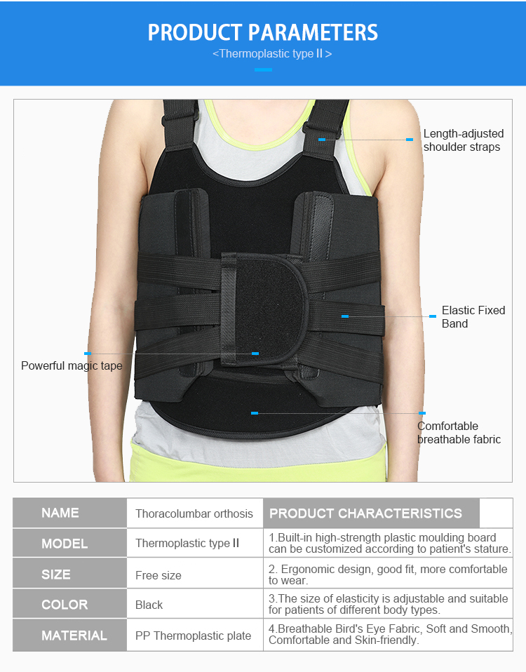 Physiotherapy Equipment Thoracolumbar Fixator Thermoplastic Lumbar Sacral  Orthosis - Buy Thoracic Back Brace,Lumbar Spine Brace,Thoracolumbar Brace