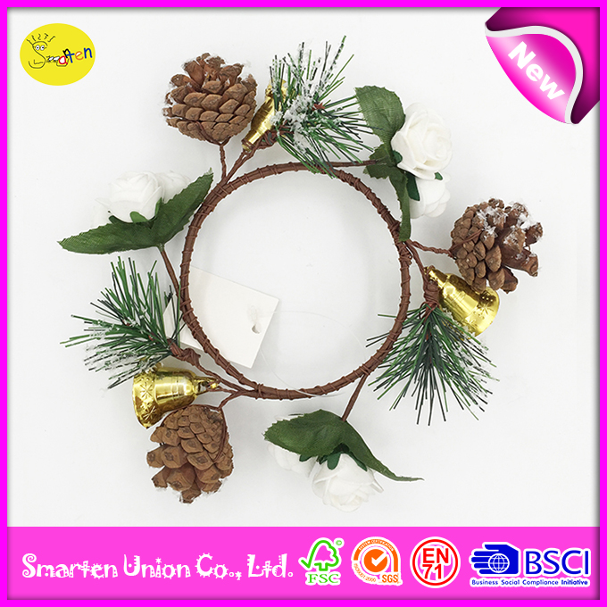 flower wreath with pinecone, christmas wreath with bells