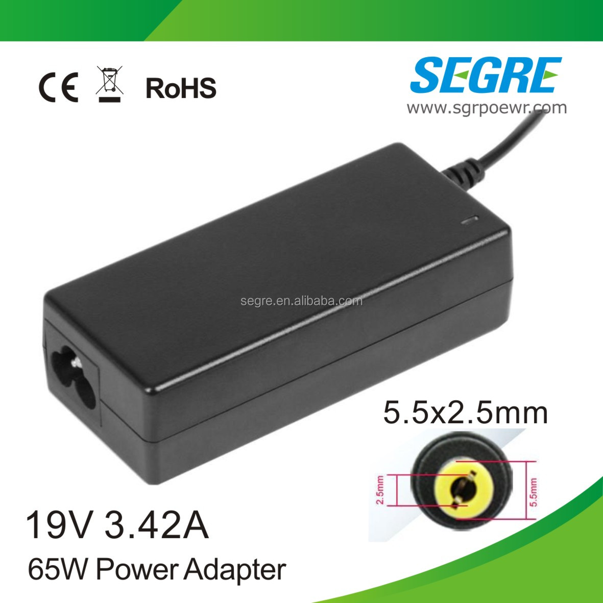wholesale replacement 5.5mm*2.5mm 65W 19v 3.42a laptop power <strong>adapter</strong>