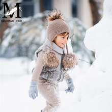 Kids Winter Knitted Hats Children Three Fur Pom Poms Hat Baby Hat With Hair