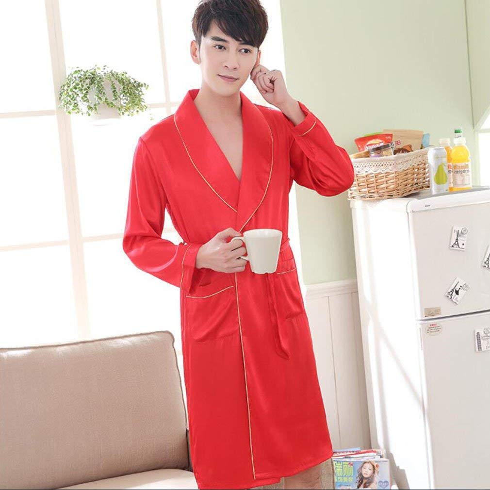 Get Quotations · Bathrobe Couples Robe Red Wedding Sexy Bathrobe Simulation Silk  Spring And Autumn Summer Silk Men And 747f2eb83