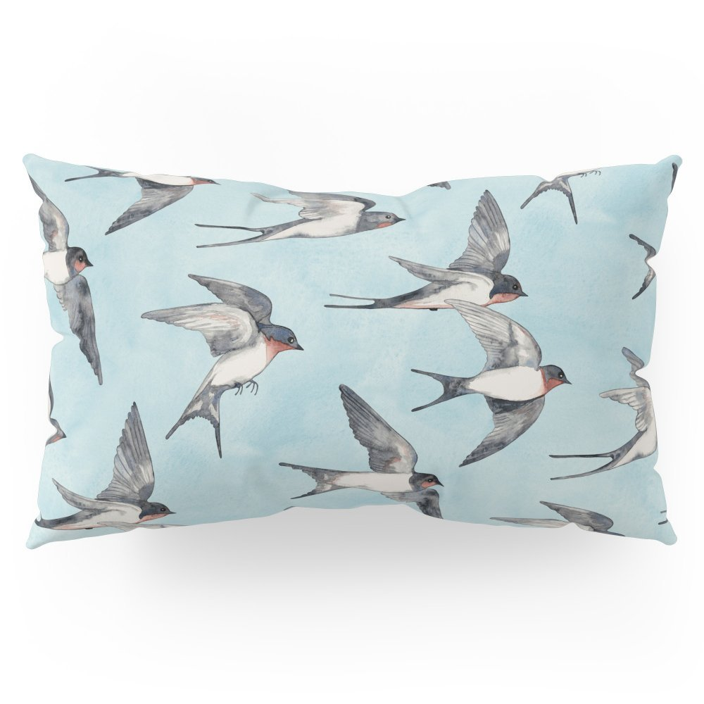 "Society6 Blue Sky Swallow Flight Pillow Sham King (20"" x 36"") Set of 2"