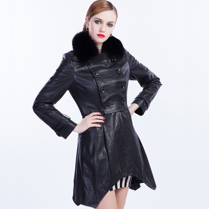 Sju 2013 autumn and winter women fashion fox fur genuine leather sheepskin long-sleeve clothing outerwear