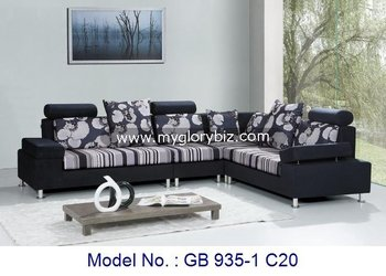 Corner Sofa Set Fabric Fancy Flower Modern