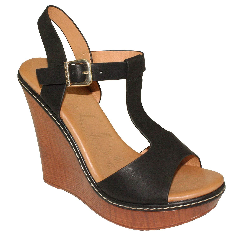 DbDk Women's Nassa-2 T-strap Faux Wood Peep-toe Platform Wedge High Heel Sandals