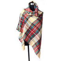 wholesale cozy cashmere feel winter plaid tartan wrap scarf blanket shawl