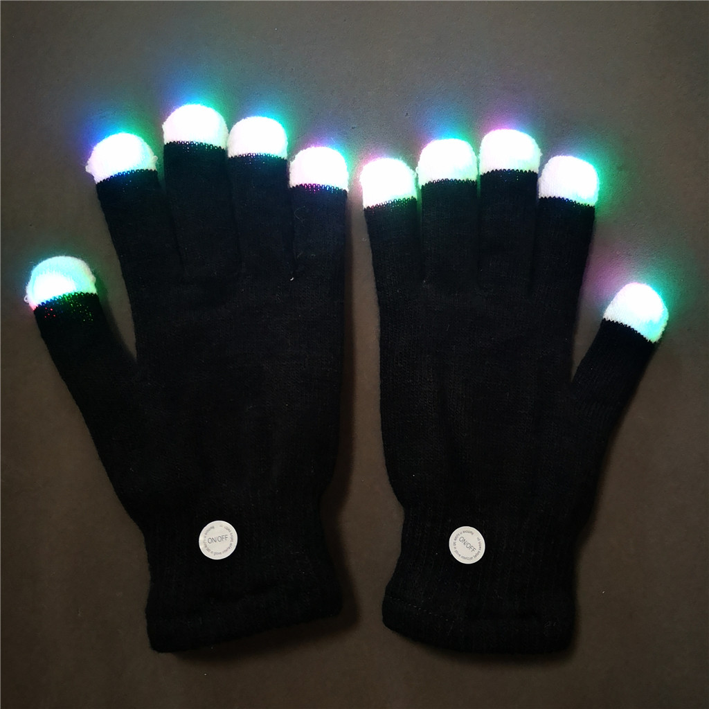 Black Fingerless Top Led Flashing party gloves