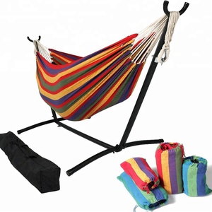 Folding Camping Double Hammock Stand Outdoor Swing Bed Double Hammock Chair With Storage Carry Bag
