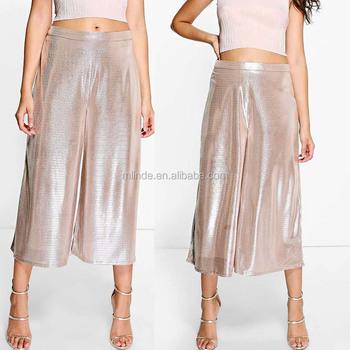 45eb19ca1e Bulk Cargo Pants 3/4 Women's Short Pants Wide Leg Metallic Culottes Loose  Casual High