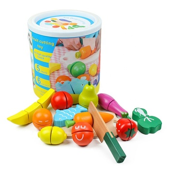 Eco-Friendly 12pcs-set Fruit Cutting Toy Wooden Food Toy Vegetable Magnetic Children Cutting Toy