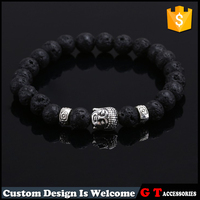 Natural Stone Blace Lava Stone Silver Alloy Buddha With Spacer Accessories Bead Bracelet Religious Jewelry For Male Female