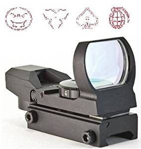 The Global Sportsman Tactical Rifle Shotgun Pistol 4 Reticle Red Dot Open Reflex Sight Scope Fits Any Picatinny / Weaver Base Mount with 7 Brightness Settings (Modern Destroyer)