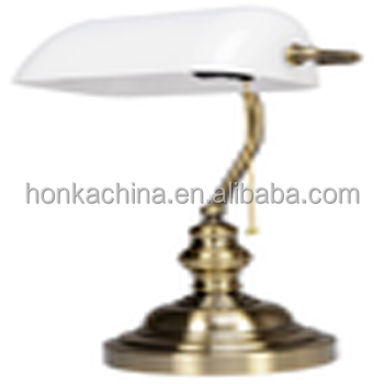 Iron Banker Table Lamp With White Glass Shade And Bronze Finish