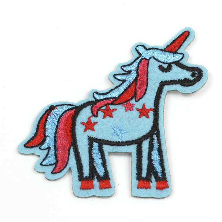 Wholesale sew on felt embroidered applique unicorm shaped animal patch