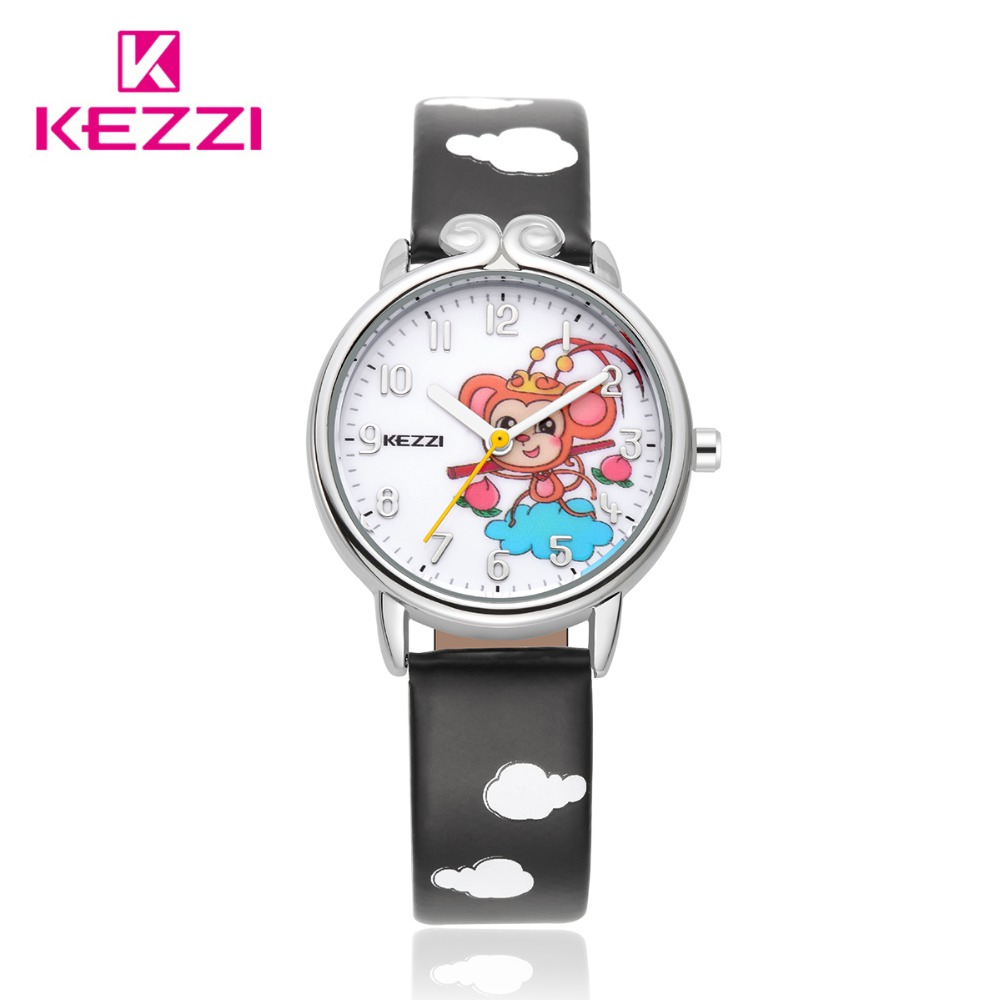Kezzi Brand Kids Children Watches Cute Cartoon Monkey King Quartz Analog Leather Strap Wrist Watch Boy Girl Free Shipping K1558