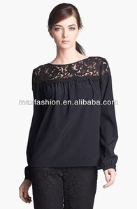 China manufacture lace silk crepe blouse