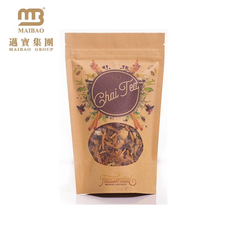 Custom Logo Printed Laminated Material Clear Window Tea/Food Packing Stand Up Kraft Paper Ziplock Bags