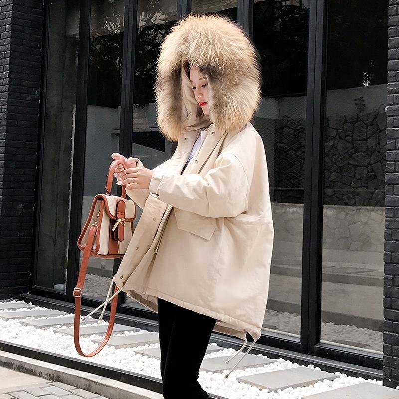 Korea New Winter Women Thicken Cotton Coat Raccoon Fur Collar Jacket Long Parka Down Coat, As photo or customized