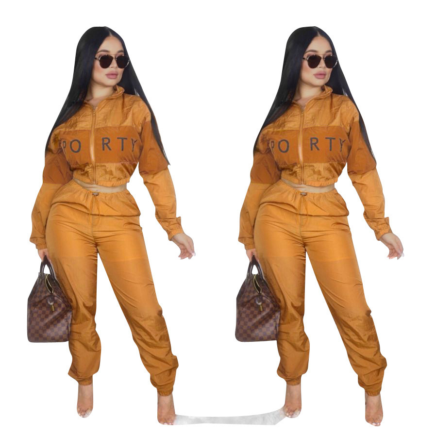 Ready to ship OEM ODM SD9052 fashion letter long sleeve top and pants sport women two piece outfits
