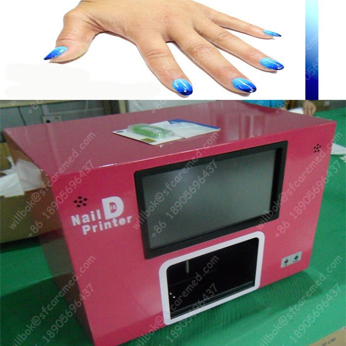 Nice design Blue Digital Nail art Painter machine with computer