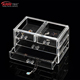 3 drawers clear acrylic makeup organizer plastic cosmetic drawer storage box with handle