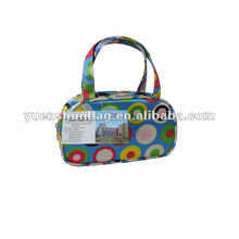 Stylish circle dot pattern satin cosmetic bag luggage bags & cases free sample