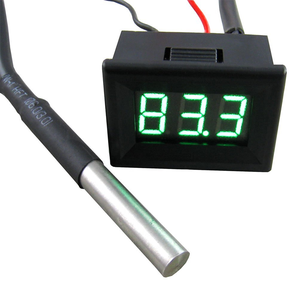 """Yeeco 0.36"""" -55-125°C Black Shell Green LED Digital Thermometer Temperature Gauge Panel Temp Measure DS18B20 Waterproof Temp Probe for Air/Water/Pond"""