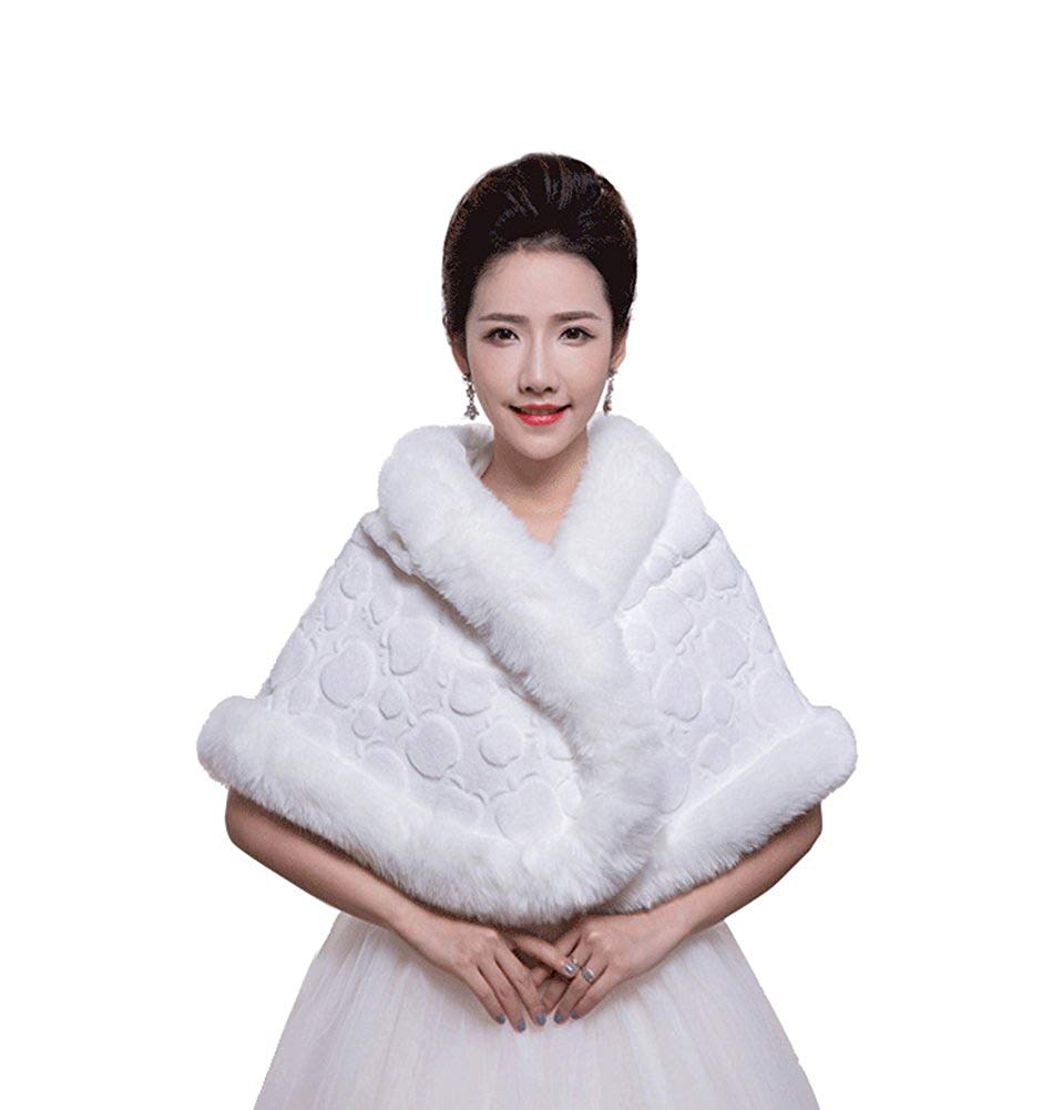 Get Quotations Icegrey Women S Faux Fur Wraps Shawls Cape Wedding Bridal Stole