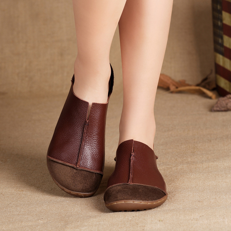 35 42 Women s Shoes Plus Size Genuine Leather Flat Shoes Casual Slip on Loafers