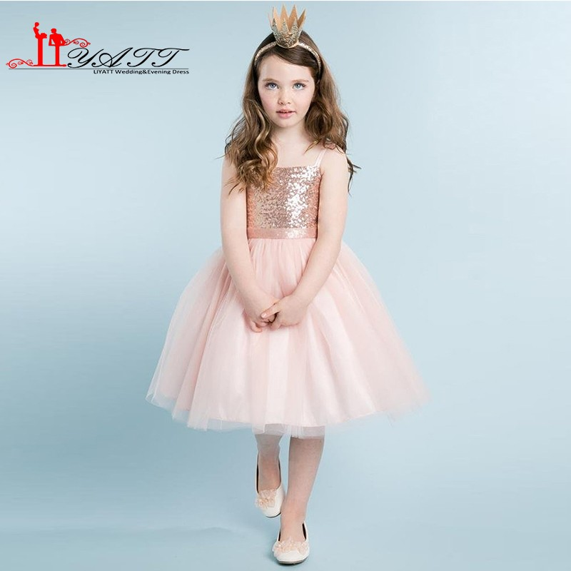 2a9f3f827cd Blush Pink Flower Girls Dresses A-line Rose Gold Sequins Top Knee Length  Tulle Little Girls Wedding Party Dress Prom Gown