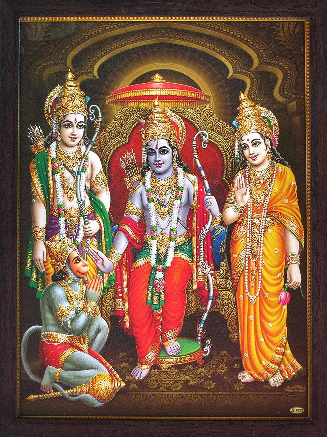 Lord Hanuman Sitting in Ram Darbar and Showing is Dedication Towards His Family, a Holy Religious Poster Painting with Frame for Hindu Worship and Gift Purpose