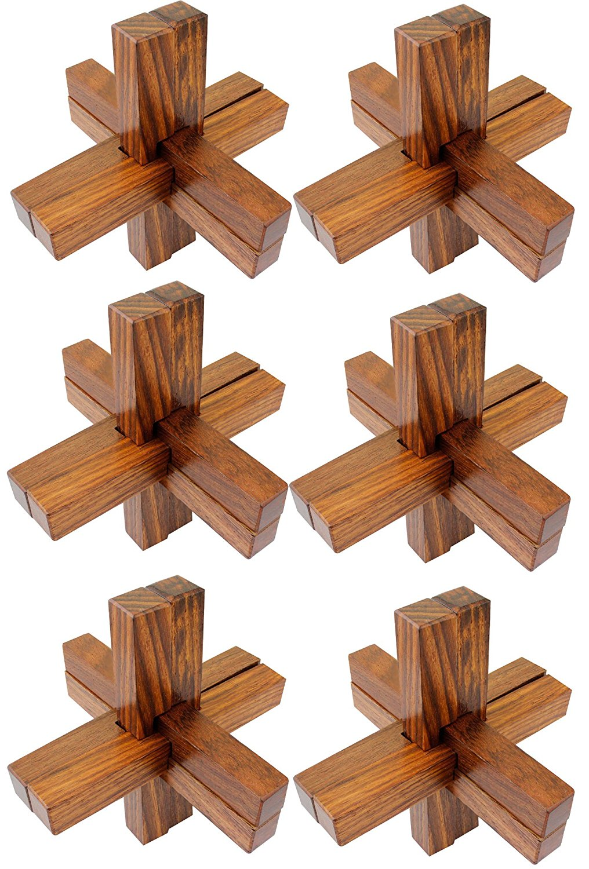 Buy Set of 6 - 3D Wooden 6-Pieces Interlocking Block Toy
