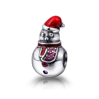 Promotional wholesale Silver custom logo beads sterling silver Christmas gift snowman charm
