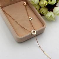 Hot Selling Jewelry Fashion Alphabet Letter Monogram Love Bar Pendant 18K Gold Long Chain Necklace For Women