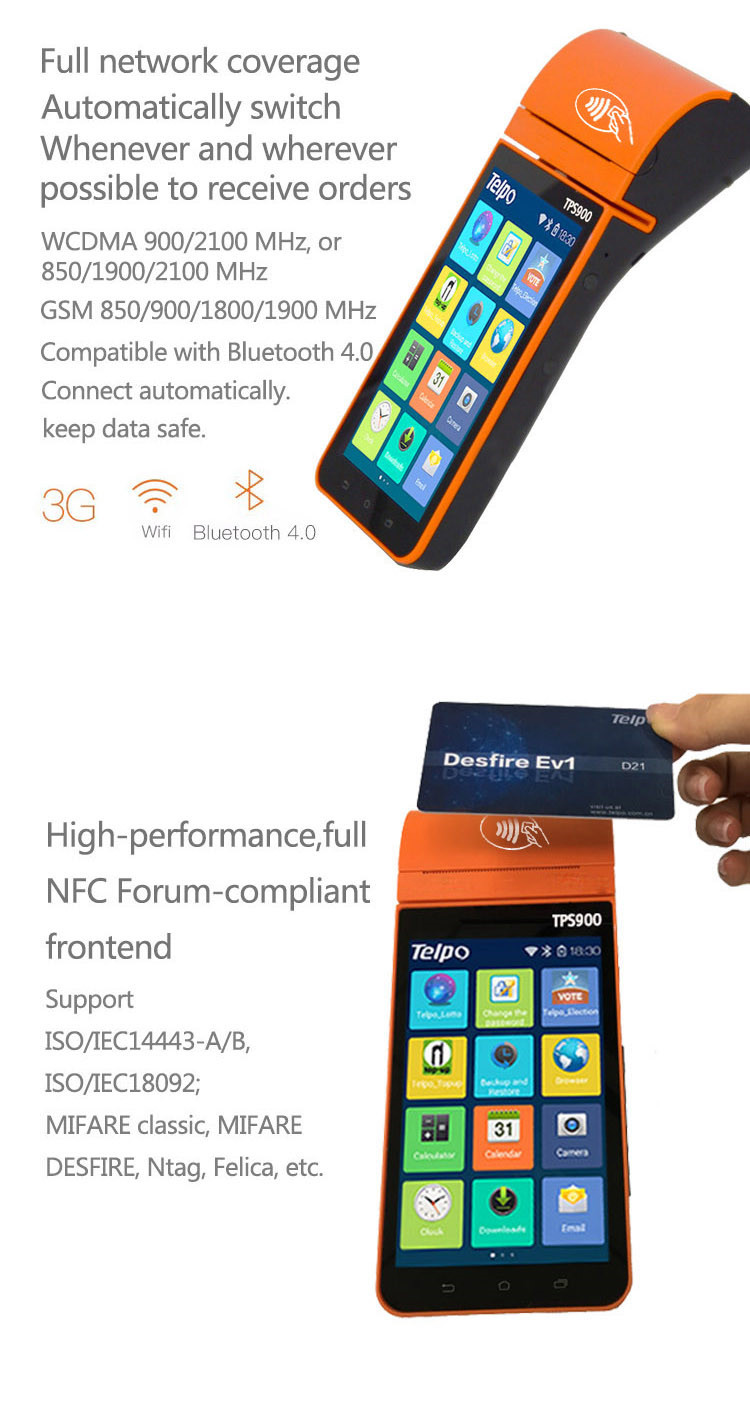 Telpo TPS900b Portable Android pos with NFC Camera For Data Collecting