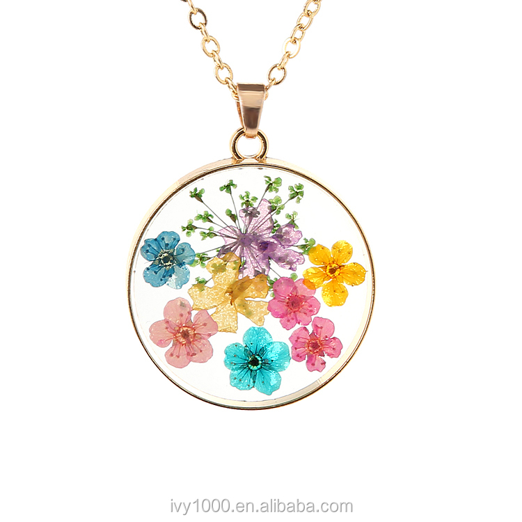Colorful flower silver round pendant with chain necklace