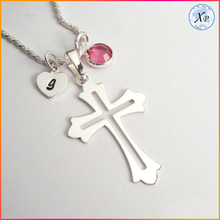 14k Silver Religious Jewelry Heart Initial Personalized Birthstone Smooth Christian Cross Pendant Necklace coss jewelry