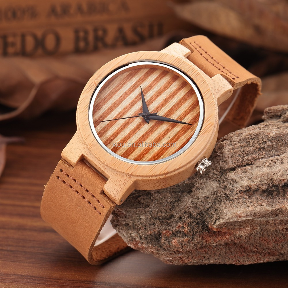 Men Women Fashion Casual Wooden Watches Simple Leather Wrist Watch
