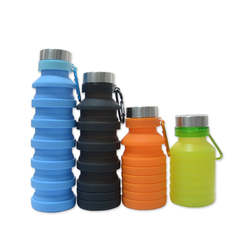FDA Eco Friendly Silicone Folding Collapsible Water Bottle with Custom Logo, Various color is available