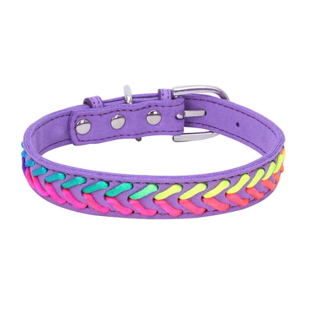 Axchongery Pet Collar,Exquisite Adjustable Dog Necklace Puppy Colorful Rope Chain (Purple, S = 361.5CM)