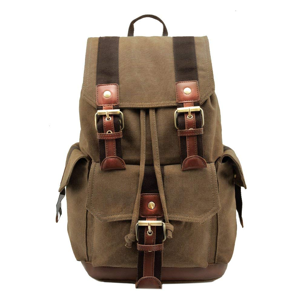 045336465 pcmos Canvas Backpacks Vintage Rucksack Crazy Horse Leather Travel Hiking  Daypacks Computers Laptop Backpacks Unisex Casual